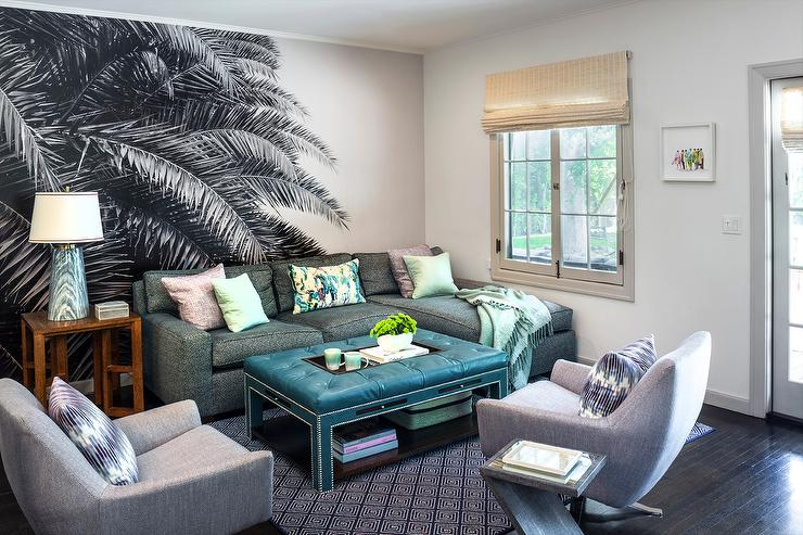 shimmery gray sofa with peacock blue