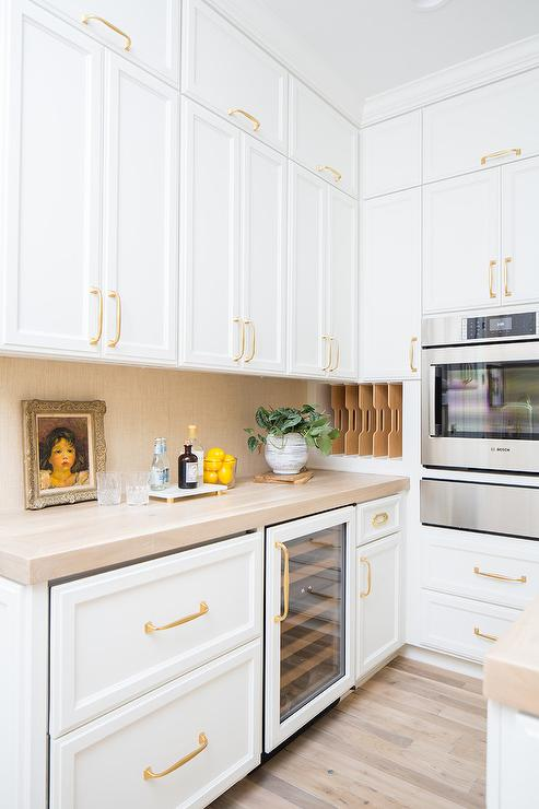 Brass Pulls On Stacked White Pantry Cabinets Transitional Kitchen