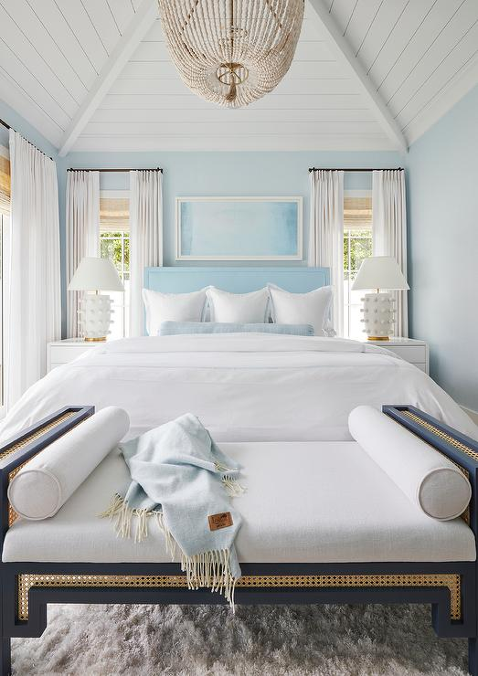 Sky Blue Headboard On Blue Wall Cottage Bedroom