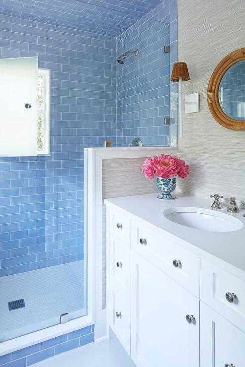 white hexagon shower floor tiles