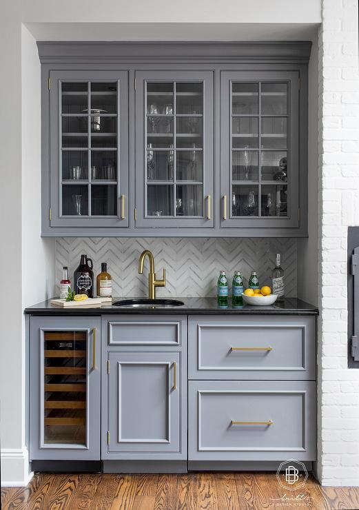 Kitchen Nook Butlers Pantry With Gray Glass Cabinets Transitional Kitchen
