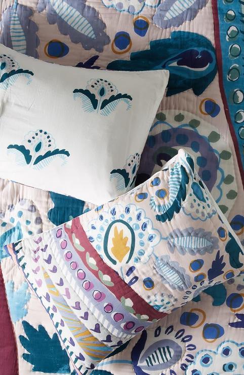 sunder blue paisley floral pillow sham set