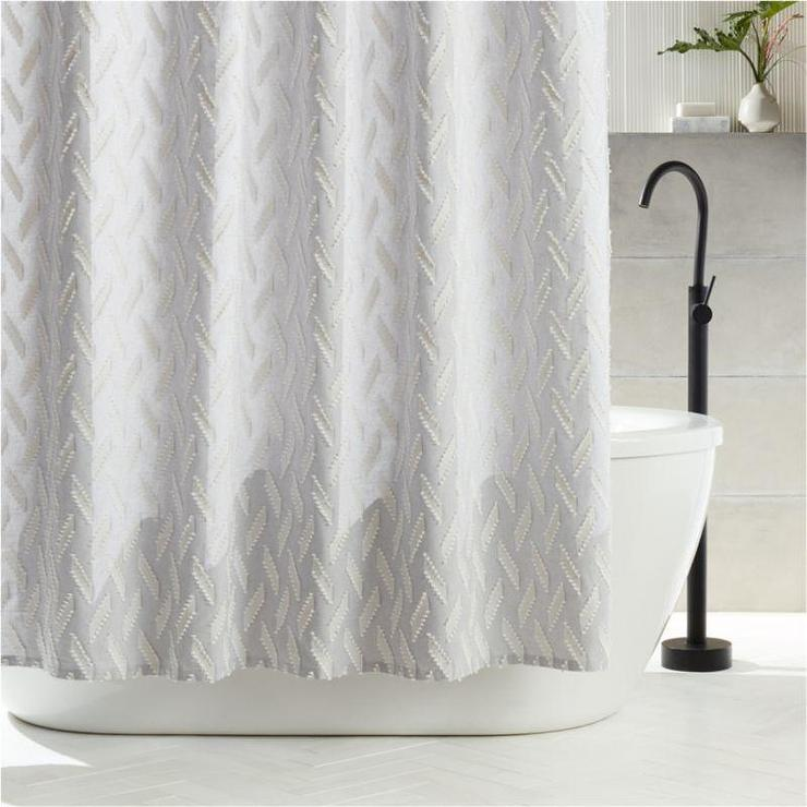 heritage light gray embroidered shower
