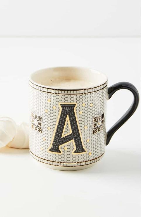 anthropologie bistro tiled monogram mug