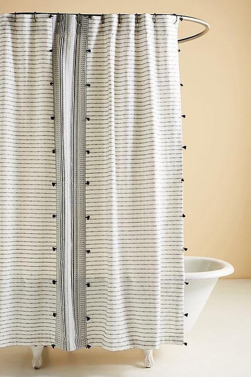 white striped tasseled shower curtain