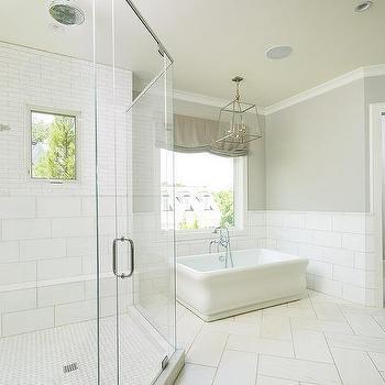 white herringbone bathroom floor tiles