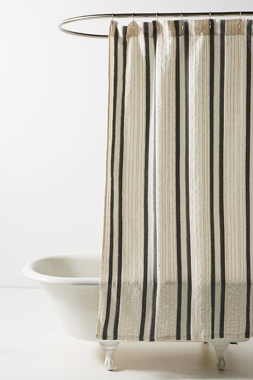 oliver neutral striped woven shower curtain