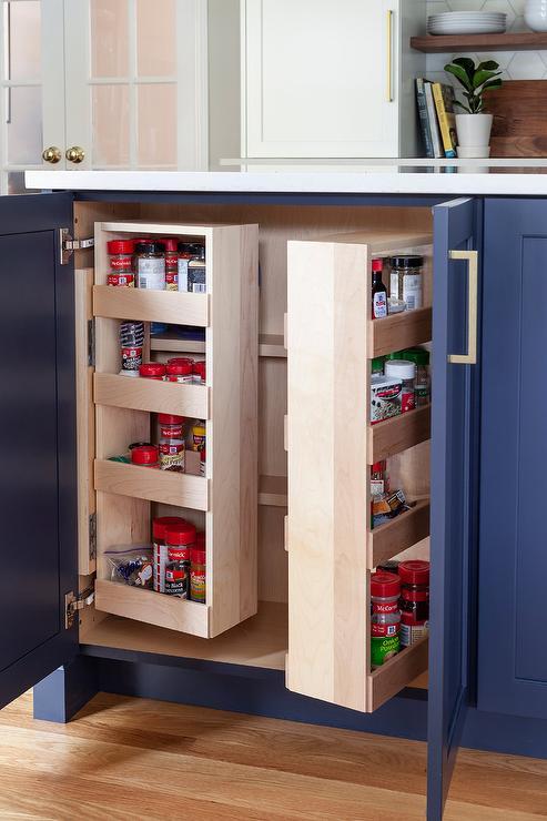 custom revolving spice rack in cabinet