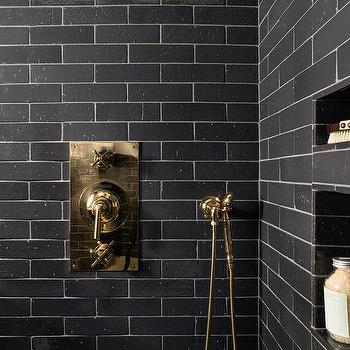 white shower tiles with black grout