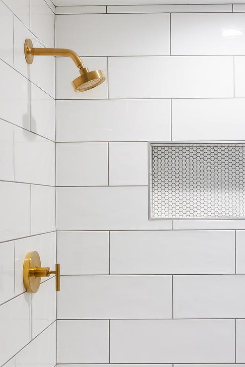 large white subway tiles in shower