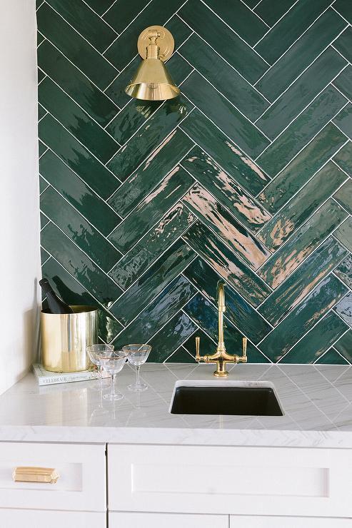 green herringbone tiles design ideas