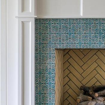 blue fireplace surround tiles design ideas