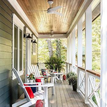 teak plank patio ceiling with fan