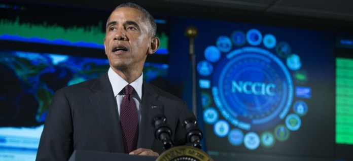 President Barack Obama speaks at the National Cybersecurity and Communications Integration Center in Arlington, Va., Jan. 13, 2015.
