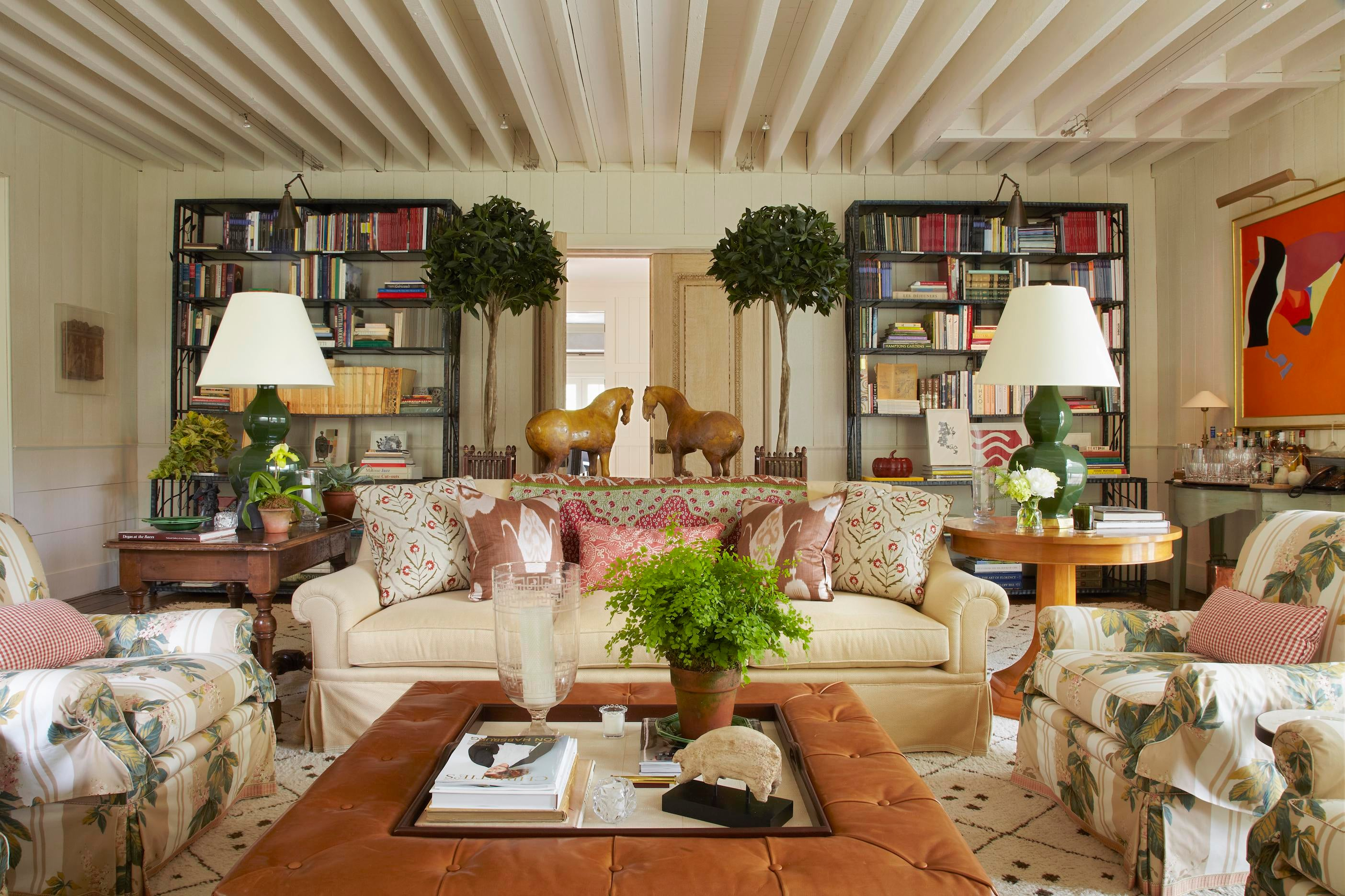 East Hampton Living Room With Bunny Williams Home Tray Chic Ottoman By Bunny Williams Inc
