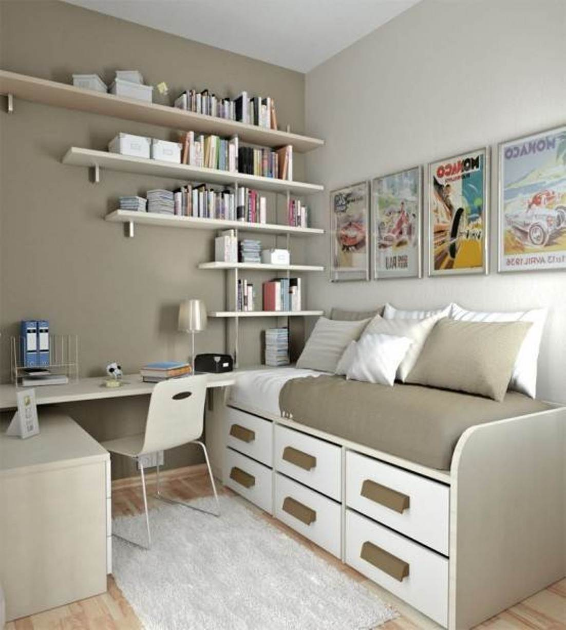 30 Clever Space-Saving Design Ideas For Small Homes ... on Bedroom Ideas For Small Spaces  id=82897