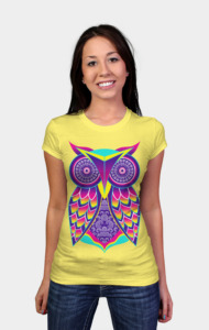 owlart the colorful neon tee.
