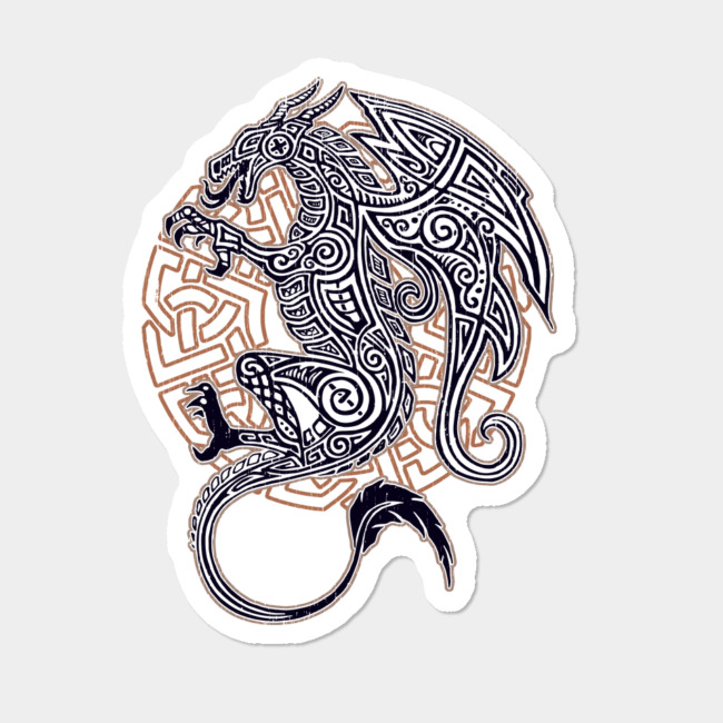 Celtic Dragon Tattoo (On White) Sticker By Delun Design By ...