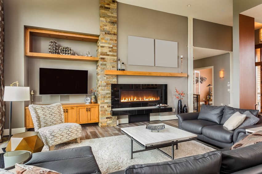 casual-living-room-with-large-leather-sofa-fireplace ... on Fireplace Casual Living id=18791
