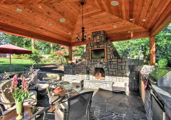 outdoor covered patio with fireplace and kitchen 30 Outdoor Kitchen Ideas & Designs (Picture Gallery