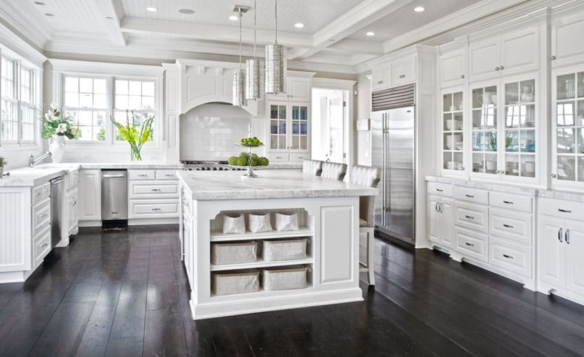 White Kitchen Dark Floors