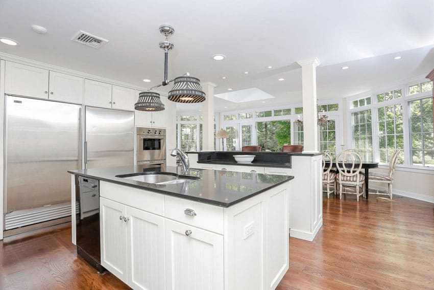 37 Luxurious Kitchens with White Cabinets - Designing Idea on Black Granite Countertops Kitchen  id=80377