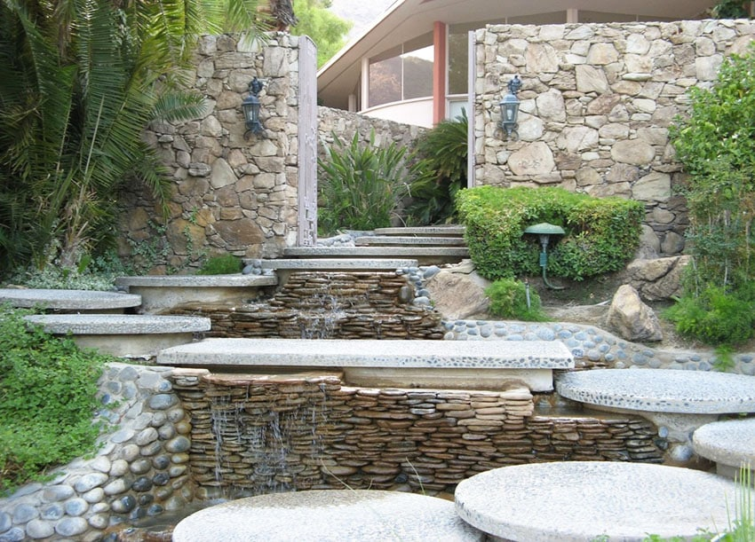 53 Backyard Garden Waterfalls (Pictures of Designs ... on Modern Backyard Water Feature id=35510