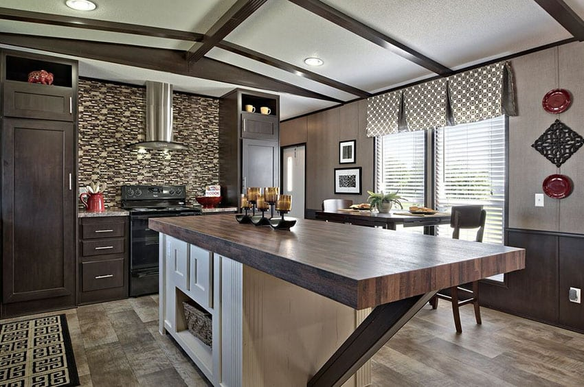 23 Reclaimed Wood Kitchen Islands (Pictures) - Designing Idea on Modern Backsplash For Dark Countertops  id=62272