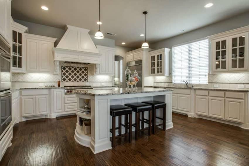 Antique White Kitchen Cabinets (Design Photos) - Designing ... on Maple Kitchen Cabinets With Dark Wood Floors Dark Countertops  id=15762