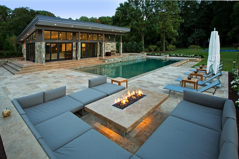 33 Pool Houses with Contemporary Patio on Modern Backyard Ideas With Pool id=76447