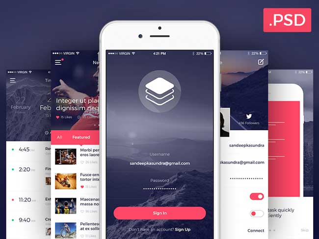50 best free android psd app templates free web design tutorials