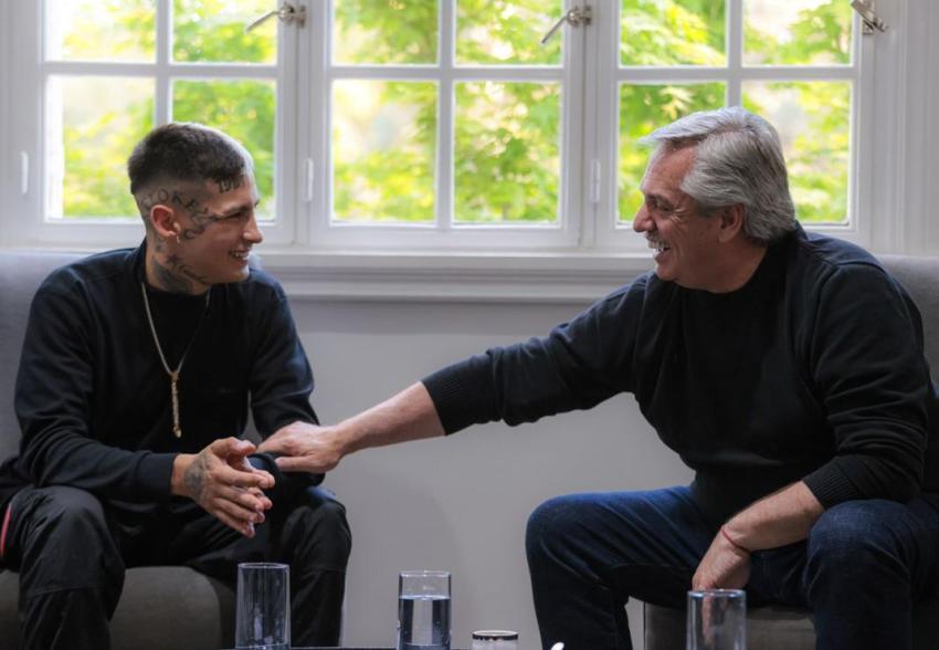 El presidente Alberto Fernández se reunió con el cantante L-Gante en la Quinta de Olivos