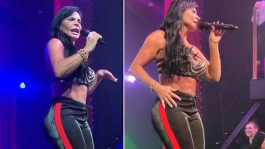 A cantora rebolou muito e acabou tirando o fôlego dos fãs.