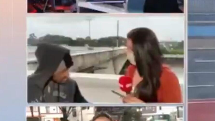 O crime aconteceu quando a repórter estava ao vivo, comentando sobre o nível das águas do rio Tietê, zona norte de São Paulo.