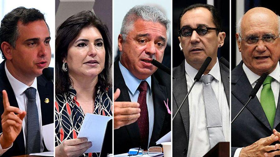 Até a sexta-feira, Rodrigo Pacheco (DEM-MG), Simone Tebet (MDB-MS), Major Olimpio (PSL-SP), Jorge Kajuru (Cidadania-GO) e Lasier Martins (Podemos-RS) haviam anunciado que disputarão a Presidência da Casa