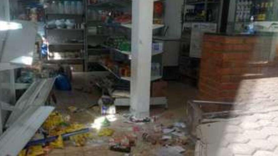 Uma mercearia ficou destruída após a passagem do animal.