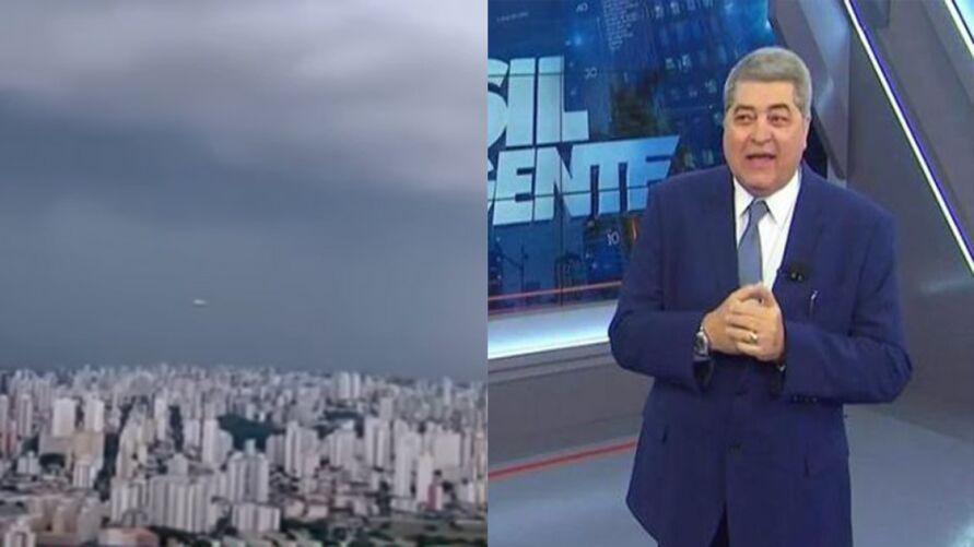 """Imagem ilustrativa da notícia Ovni surge no céu ao vivo no """"Brasil Urgente"""" e assusta Datena"""