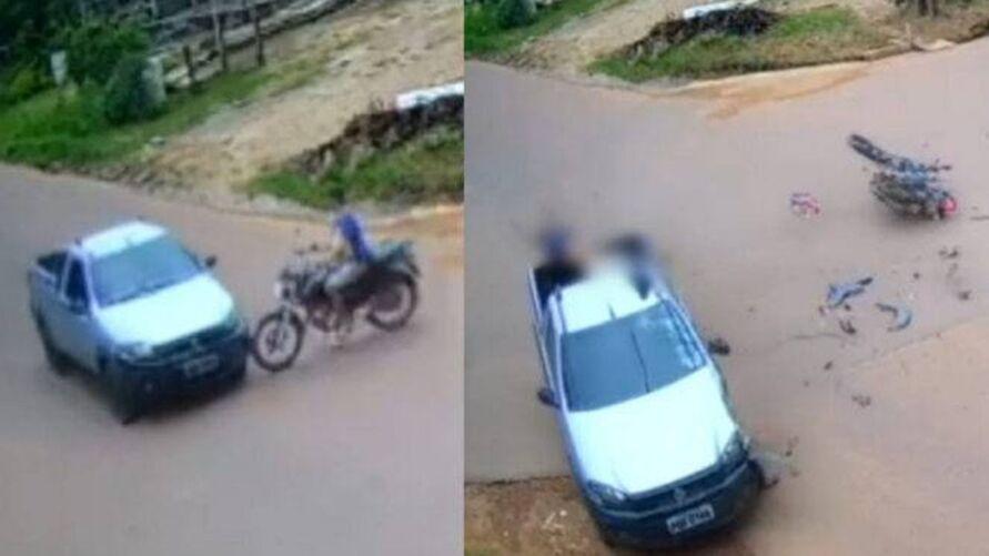 Imagem ilustrativa da notícia Vídeo: homem bate em picape e cai em carroceria no Pará