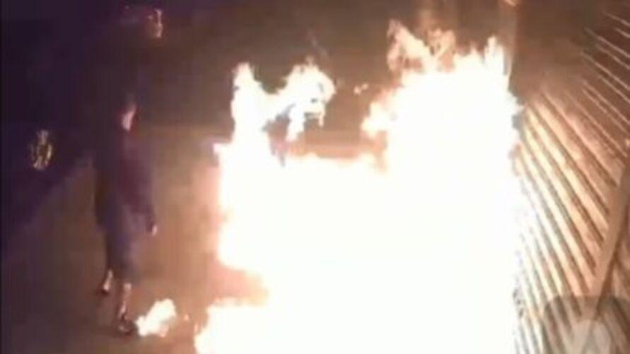 Vídeo mostra o tamanho das chamas causadas pela insensatez