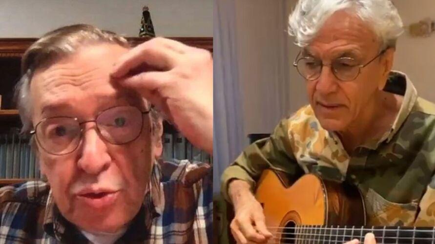 Na foto, o escritor Olavo de Carvalho e o cantor Caetano Veloso