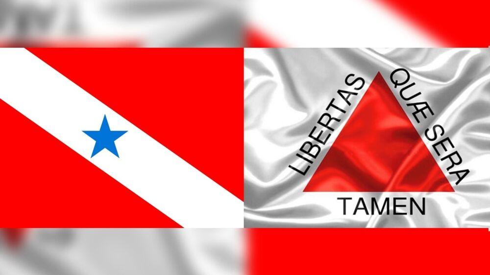 As bandeiras dos Estados do Pará e Minas Gerais