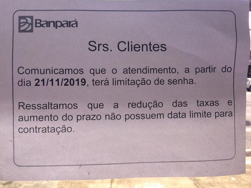 Comunicado confirma limitação de senhas desde o dia 21 de novembro.