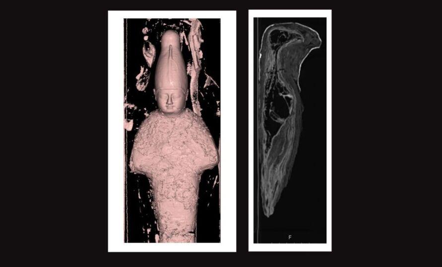 omografias revelaram que uma das múmias era, na verdade, um objeto feito de argila e grãos; já a outra era o cadáver de uma ave