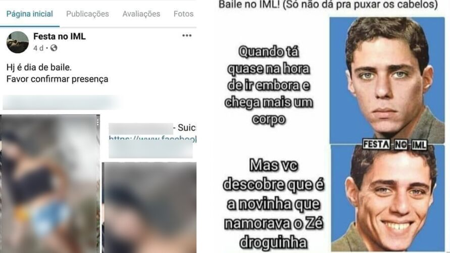 Exemplos de posts da página no Facebook