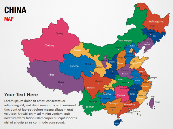 China Map Powerpoint Map Slides China Map Map Ppt Slides