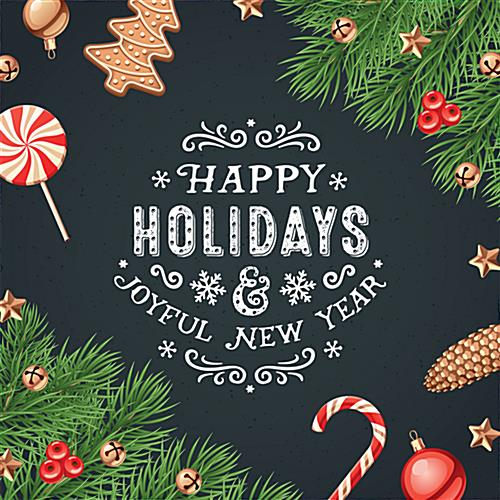 48 X 48 Square Happy Holidays Floor Decal Adhesive