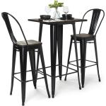 High Top Bar Table Set 3 Piece Wood And Metal Collection