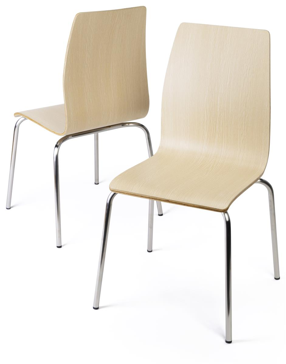 16 5 Bentwood Chair W Stainless Steel Legs Set Of 2 Light Finish