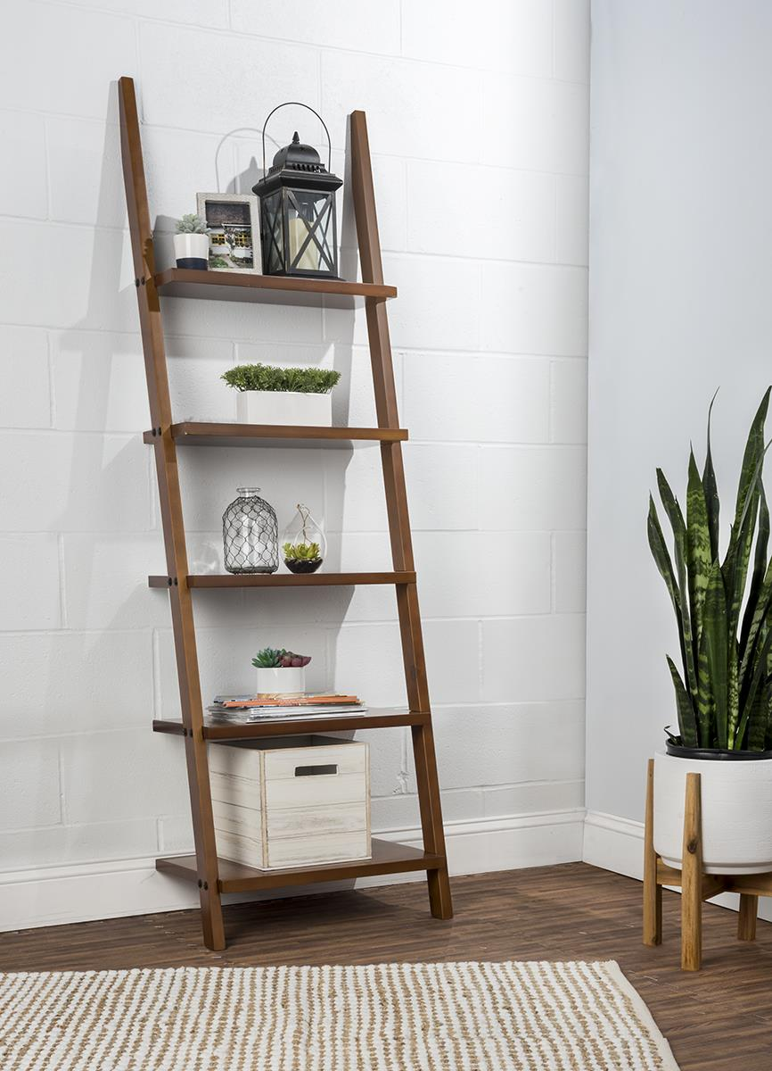 Wooden Leaning Ladder Rack With 5 Shelves Brown