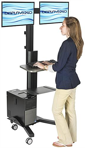 Multi Monitor Standing Computer Cart Included Accessory
